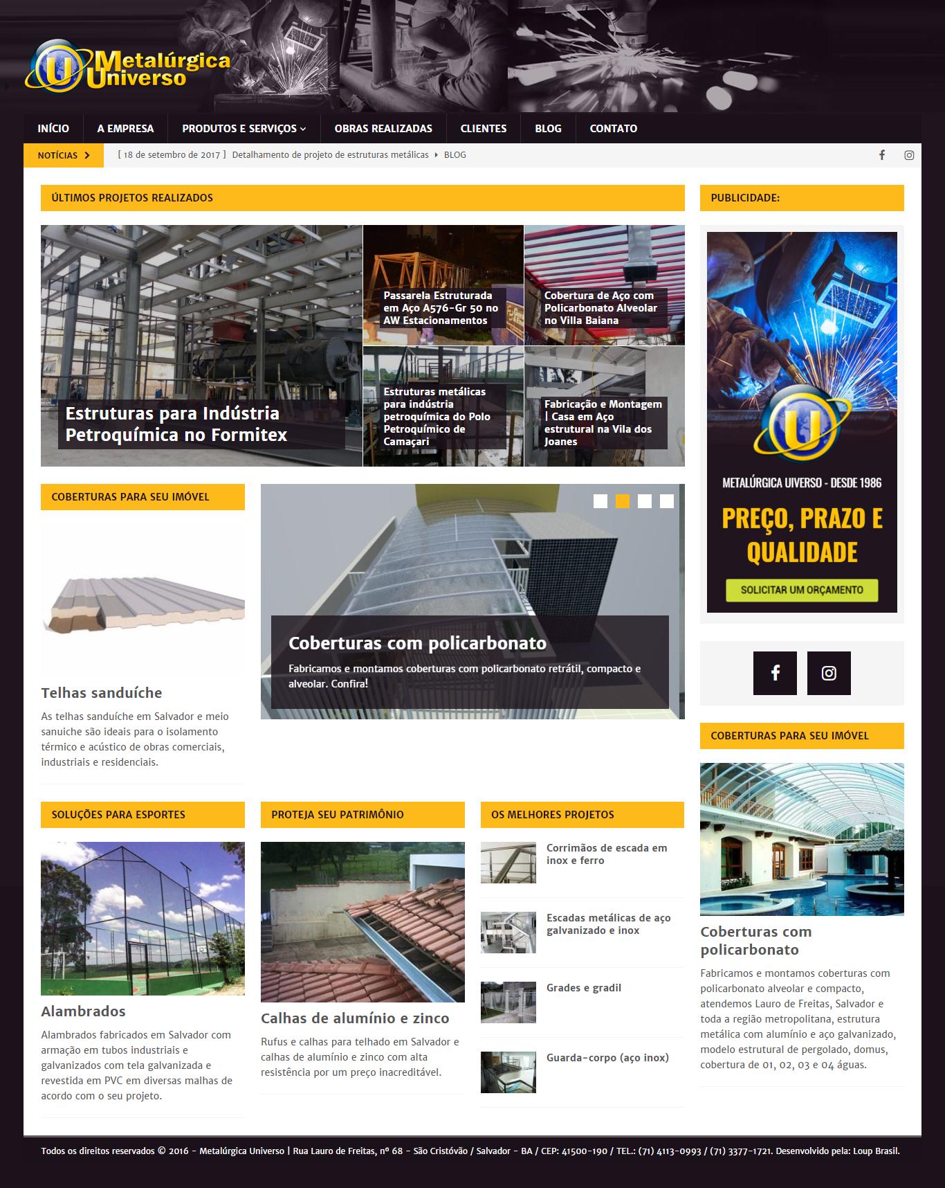 Página inicial do site da Metalúrgica Universo.
